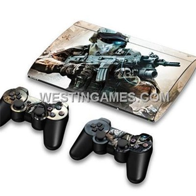 Crystal Epoxy Skin Sticker Colourful For New Super Slim PS3 400X W/ 2 Controller Skin - 210 Themes