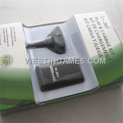 New 4800Mah Play And Charge Cable + Battery Kit For Xbox360 & Slim - Black (Neutral)