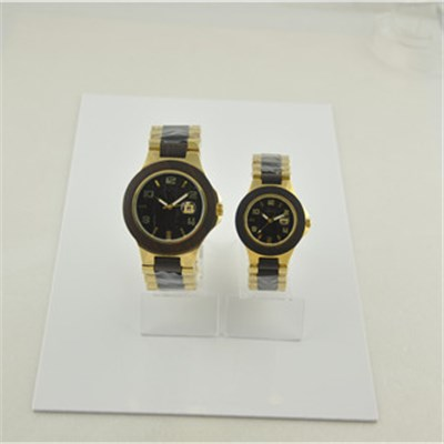 Water Resistant Couple Wood Watch Two Tone