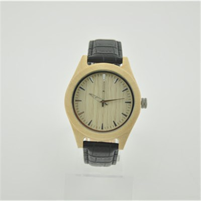 Classic Wood Leather Watch With Unisex Size
