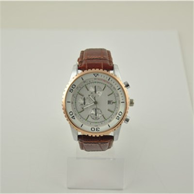 Classic PU Leather Watch With Gear Bezel