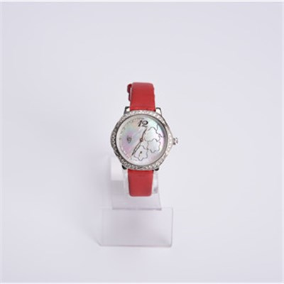 New Design Leather Band Stainless Steel Lady Watch