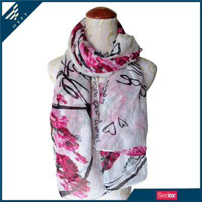 Beautiful Flower And Letters Scarf