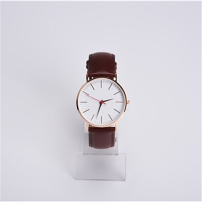 Super Slim Stainless Steel Watch With Genuine Leather Strap