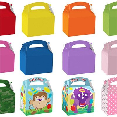 Children's Birthday Coloured Party Paper Gift Food Lunch Boxe