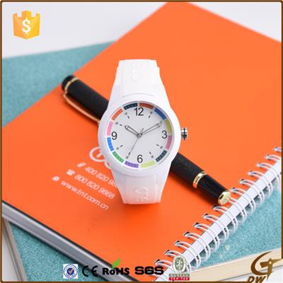 Silicone Lady Watch With Colorful Dial