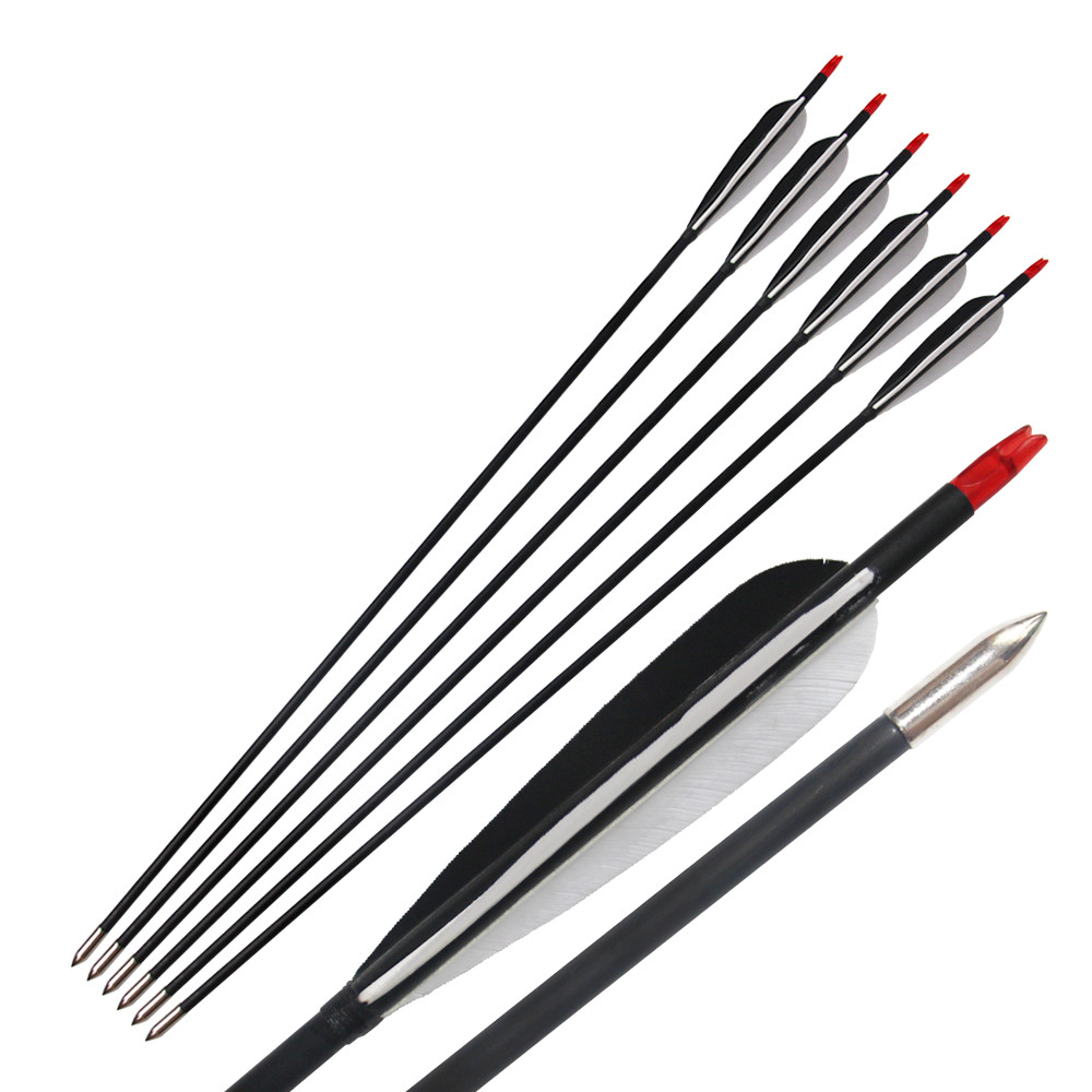 Carbon Arrows Turkey Feather for 20-70lbs Longbow Recurve Bow Hunting Archery 31\