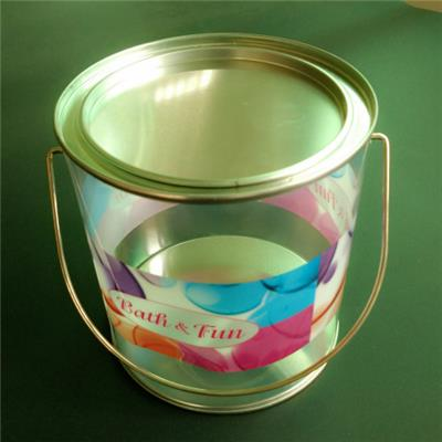 Tin Bucket with Metal Handle Large Pail Bucket