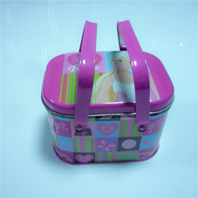 Portable Lunch Metal Tin Box With Two Handles Pink