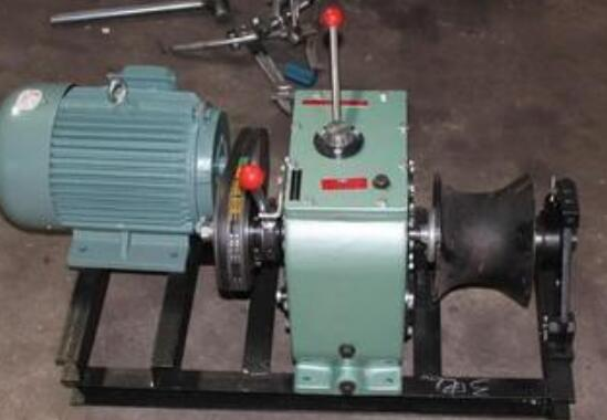 Electric power line construction grinder, cable winch
