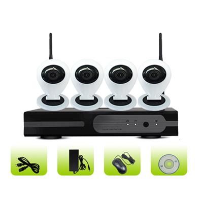 SK04W-10CB Smart Home Remote Viewing 3g Surveillance 4ch Mini Camera Nvr Kit