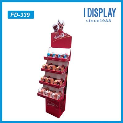 Free Standing Cardboard Displays Floor Standing Cardboard Toy Display Shelves With Hooks For Hanging Item