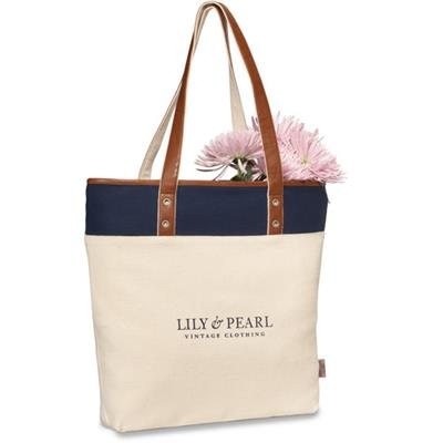 Canvas Tote Bag Leather Handle