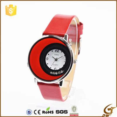 Fashion Lady Wrist Watch With PU Leather Strap