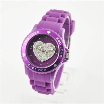 Lady Silicone Watches With Crystal Heart Shape Dial