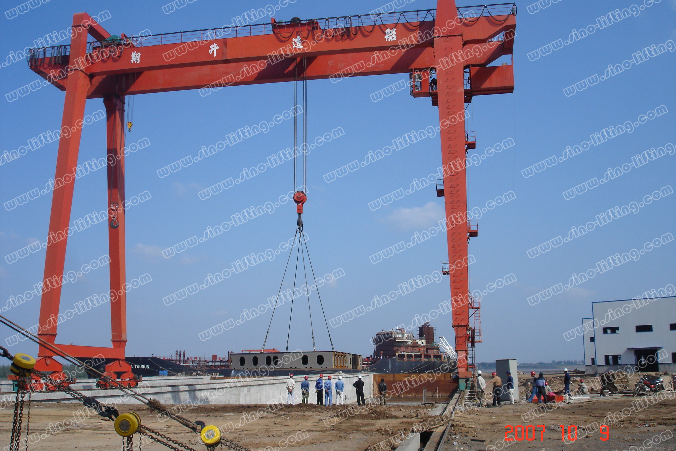 Double girder shipbuilding gantry crane