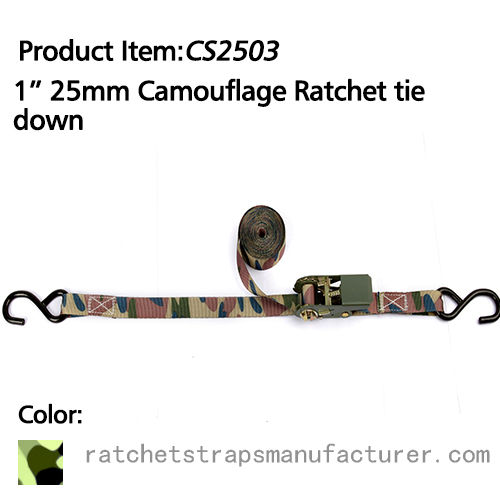 "WDCS010103 1"" 25mm Camouflage Ratchet tie down"