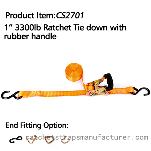 "CS2701 1"" 3300lbs Ratchet Tie down with Rubber handle"
