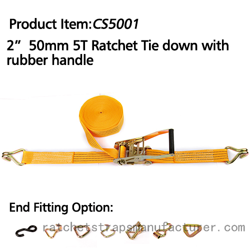 "WDCS020501 2"" 50mm 5T ratchet tie down with rubber handle"