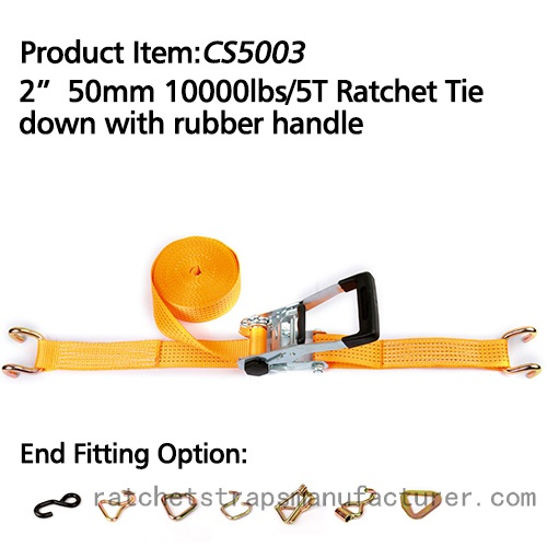 CS5003 2 50mm 1000lbs/5T Ratchet Tie down with rubber handle