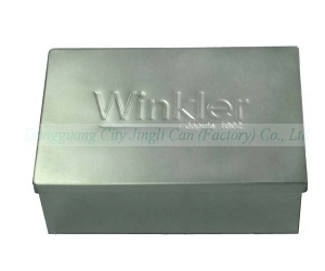 Jingli 0.25mm thickness tinplate package box with embossing on top
