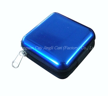 Recyclable square promotional tin with zipper made of 0.23mm thickness tinplate