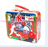 3D embossment lunch box with PVC window plastic handle and lock for kids