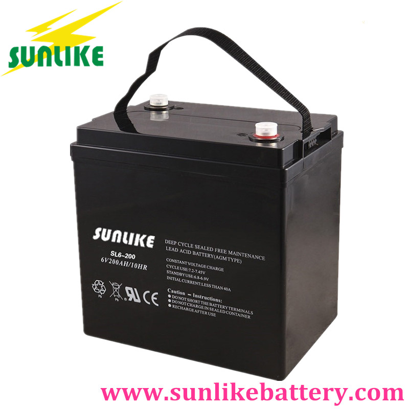 Lead Acid AGM Solar UPS Battery 6V100ah for Alarm System