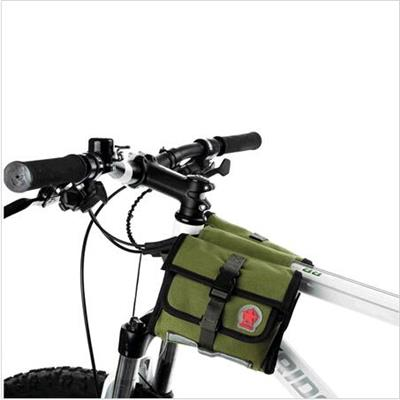 Bicycle Accessories Waterproof Army Green Front Frame Tube Double Pouch Pannier