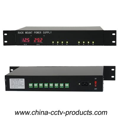 1.2U Temp And Voltage With Led Display Security Rack Mount Power Supply DC 12V 10A (12VDC10A8P-1.2U)