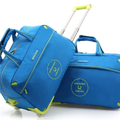 Waterproof Nylon Sports Travelling Luggage Duffle Trolley Wheeled Travel Bag