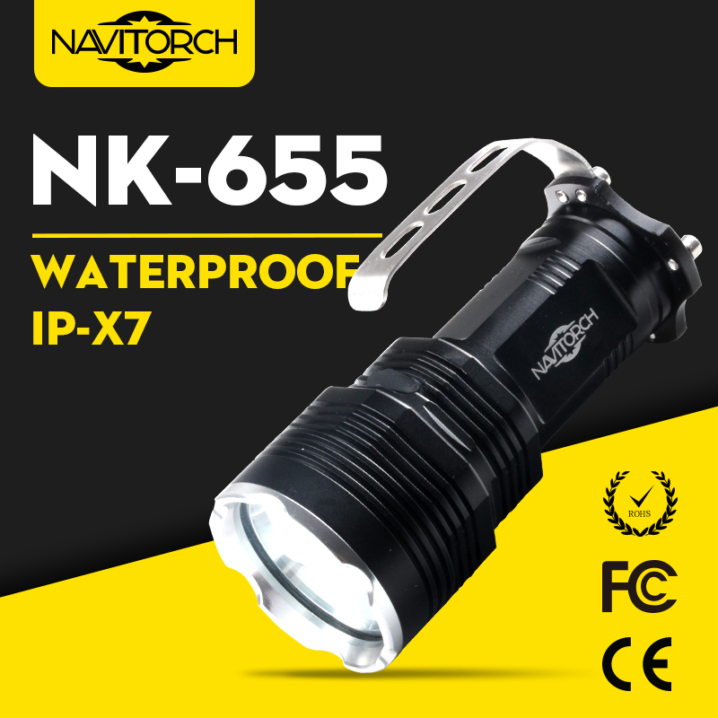 Ultra Bright Xm-L T6 LED Waterproof Rechargeable Aluminum Flashlight (NK-655)