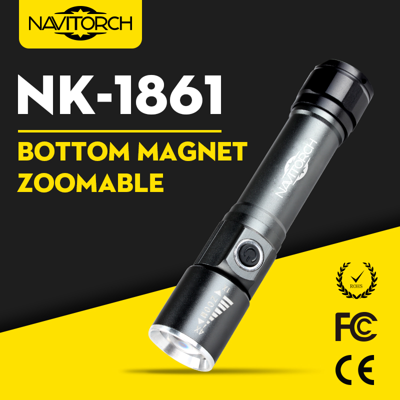 Zoomable Bottom Magnet Rechargeable LED Flashlight (NK-1861)