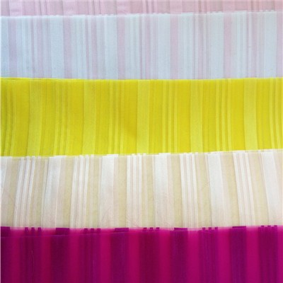New Popular Project Stripe Organza Sheer Curtain Fabric 008218
