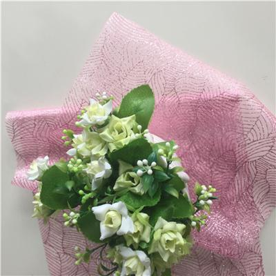 Organza With Giltter Leaf