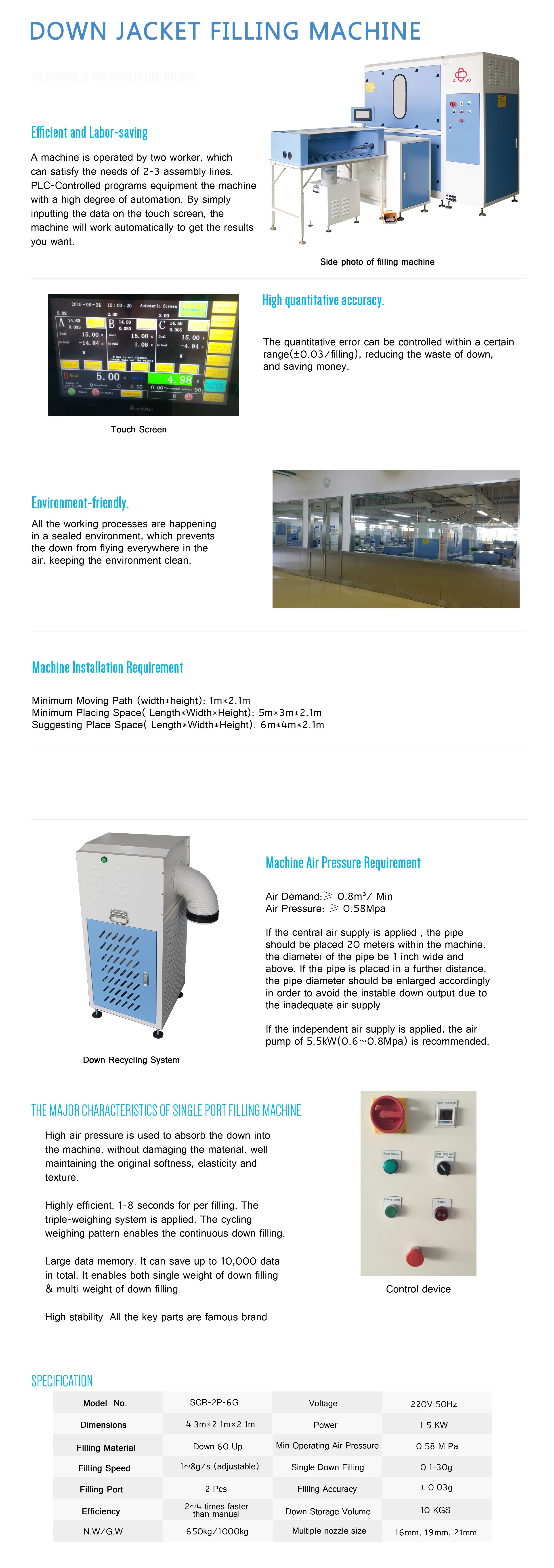 XIDO Down Filling Machine