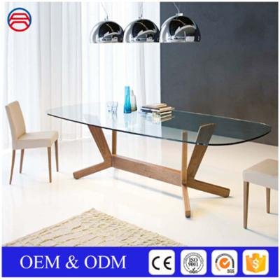 Polished Oval Tempered Clear Glass Dining Table Tops