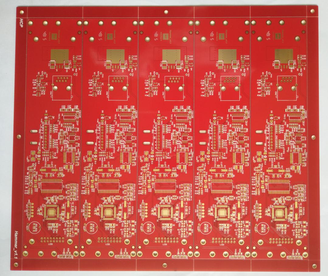 63 mil thickness double side Printed Circuits Board (PCB) with Red S/M for automotive Solution