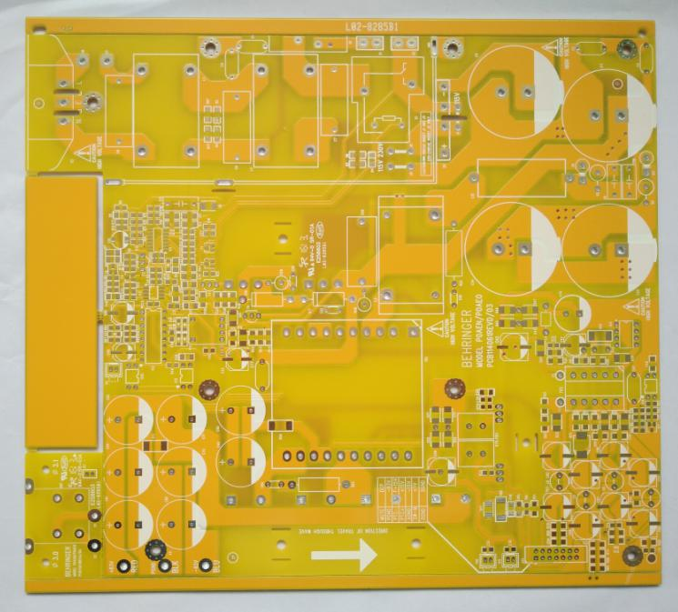 Yellow double side Printed Circuits Board (PCB) with 2 OZ copper 25um Copper thickness in vias for Power Solution