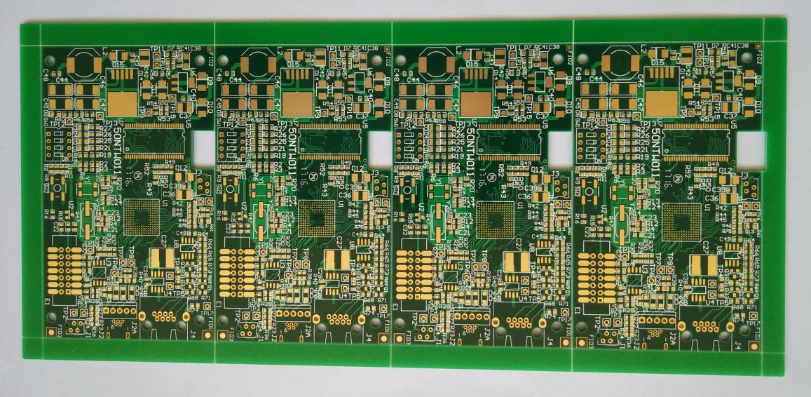 Gold Multi-layer Printed Circuits Board (PCB) with min. line width/spacing 5.9/9.8mil vias-plugging for industrial Solution