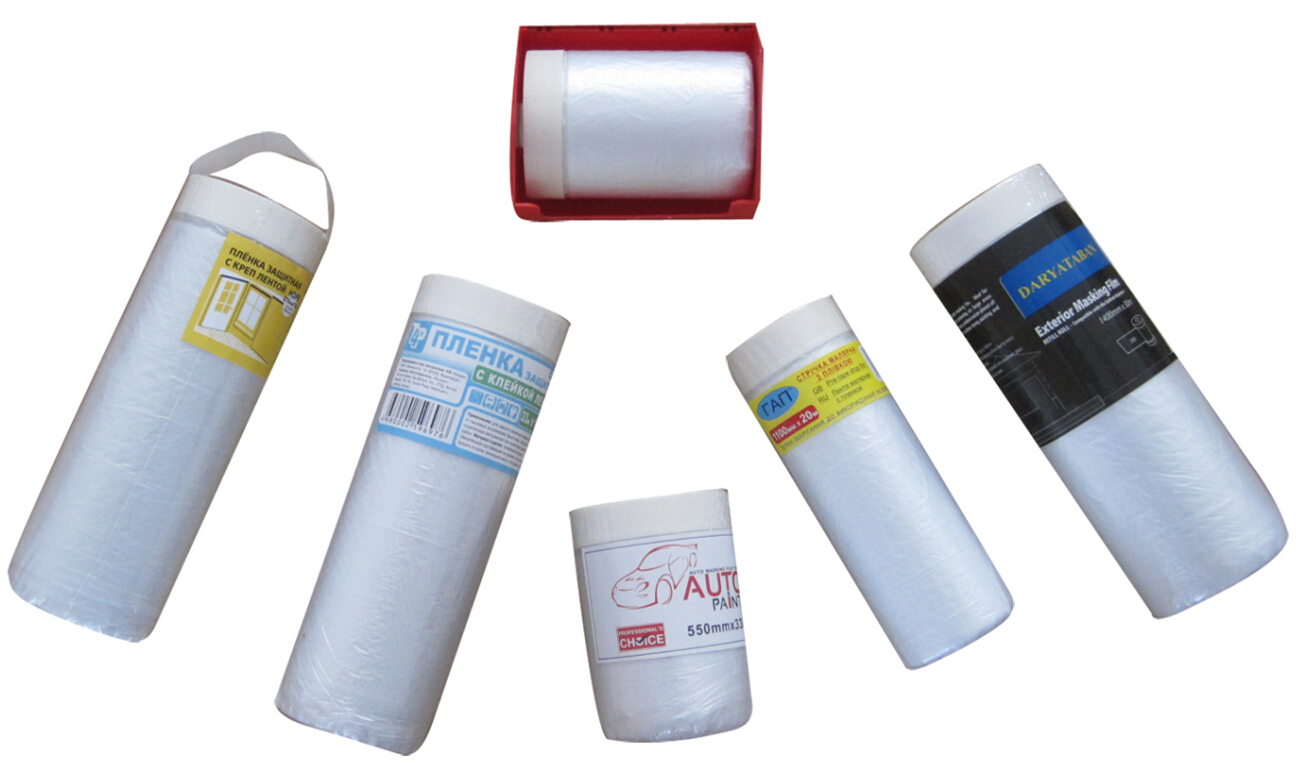 Multi-function pre-taped protective masking film for auto painting and building masking
