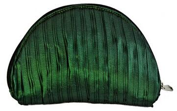 Blackish green, silk coin purse, Mini shell shape change purse, coin wallet