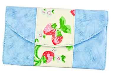 Womens Girls strawberry pattern/PU, Simplicity Slim Envelope Wallet Phone Cash Bag Clutch Handbag