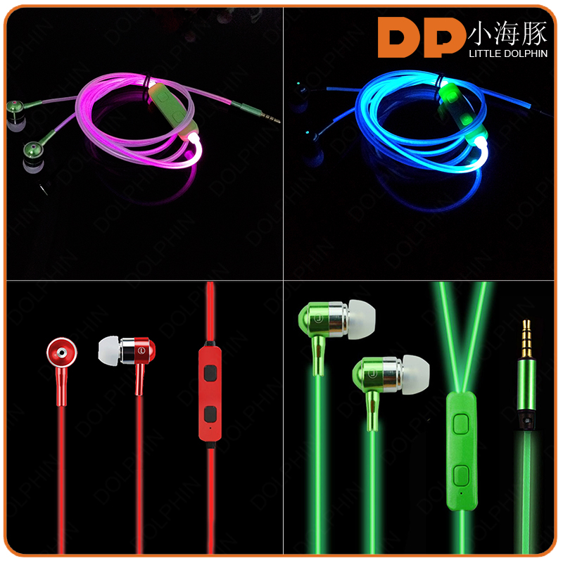 glow in the dark color change LED earphone