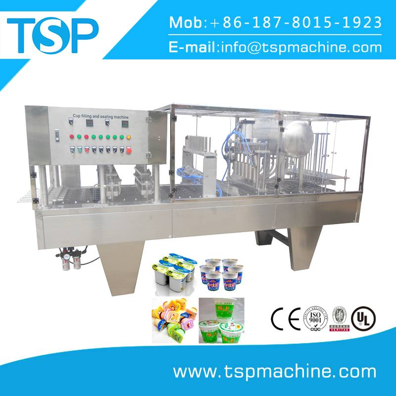 Automatic plastic water 200ml cup filling machine w/ roll film sealing unit