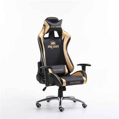 DM-01 Racing Style With Wheel Base Golden And Silver Color Office Chair(King series)