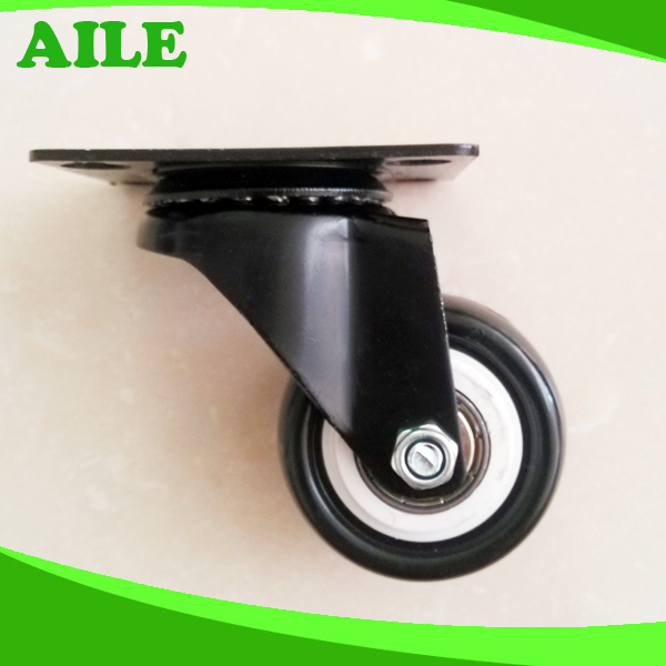 Swivel Light Duty Black PU Small Caster Wheels