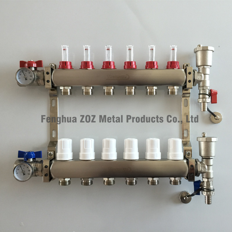 6 Branch Stainless Steel Manifold Set for Radiant Heating.