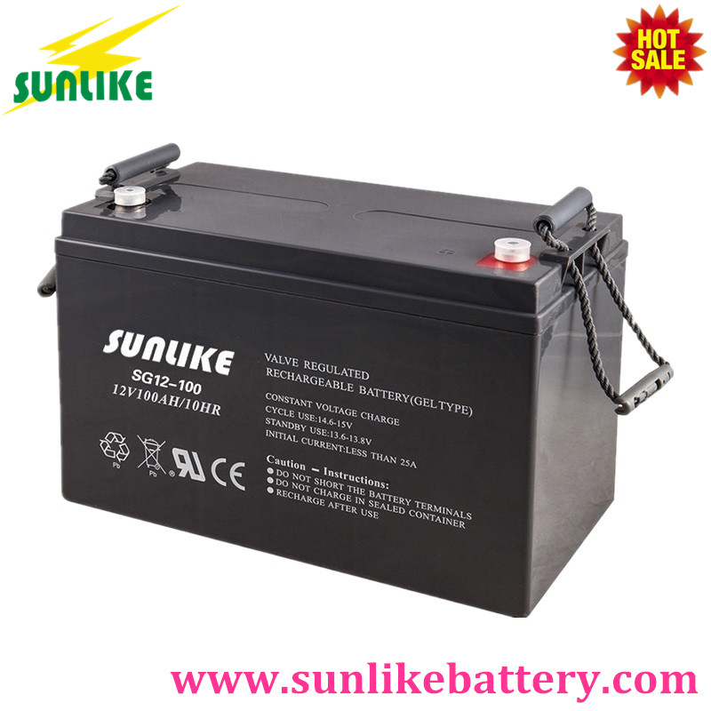 Sunlike Deep Cycle Gel Storage Battery 100ah 12V for Solar Power