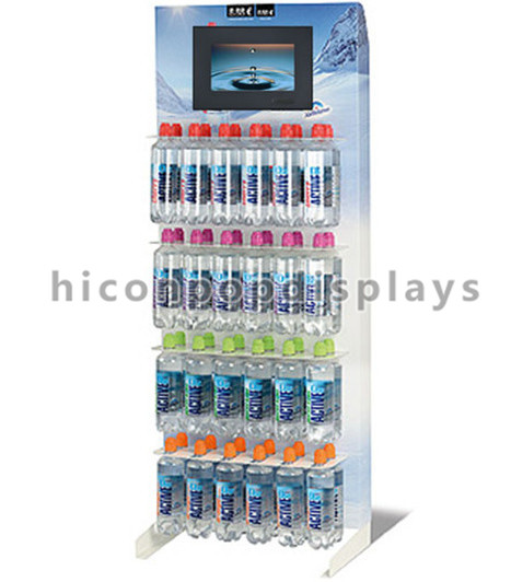 Visual merchandising wood supermarket shelf freestanding lcd display stand